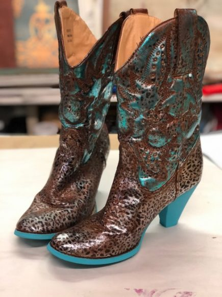 Cowgirl Boots with Metallic Foils