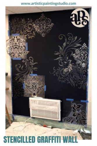 A brown wall will intricate stencilled designs in shades of gold.