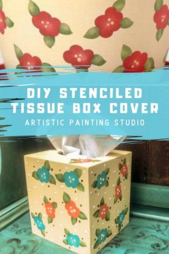 DIY Stenciled Tissue Box Cover