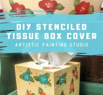DIY Stenciled Tissue Box Cover