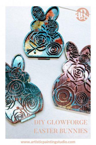 Metallic foiled wooden easter bunnies.