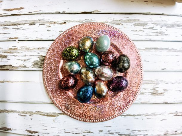 Paper-mache Easter eggs covered in metallic foils of various colors.